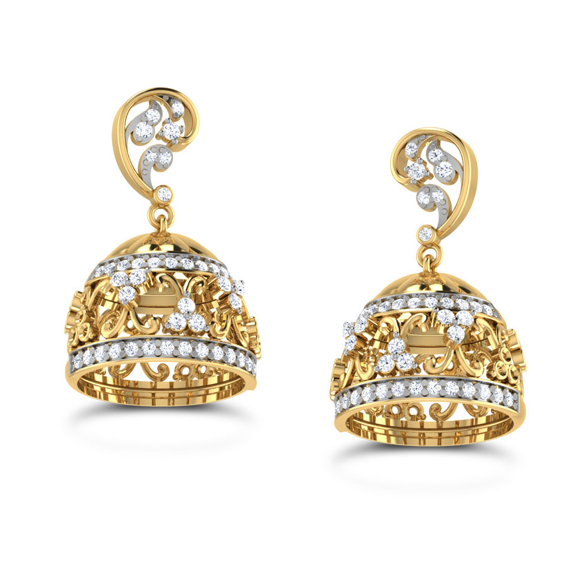 diamond jhumka top earrings with jewellery emerald designs