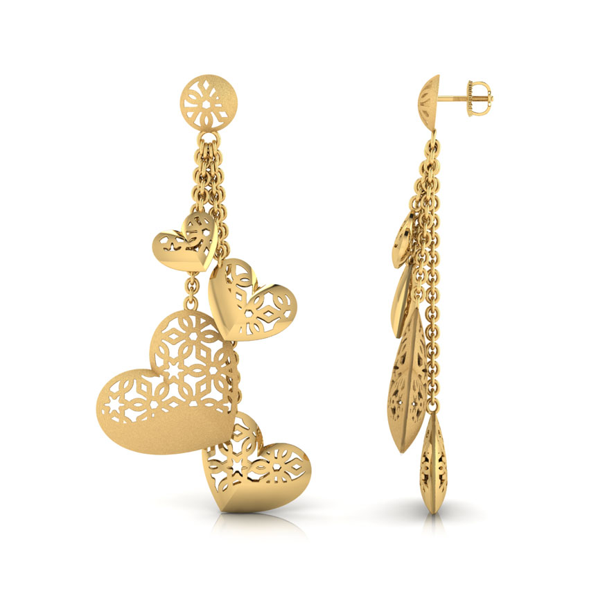 Hana Heart Bundle Drop Earring Jewellery India line CaratLane