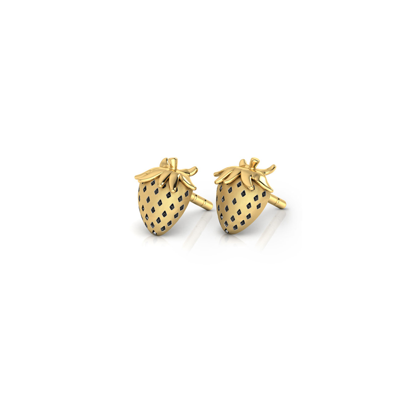 gold miore kt studs with strawberry yellow stud earrings kids for dp co uk amazon jewellery