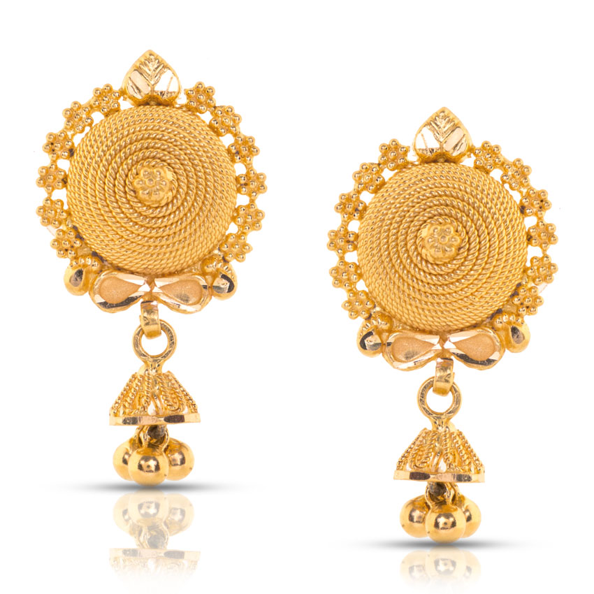Petal Rows Gold Stud Earrings Jewellery India Online - CaratLane.com