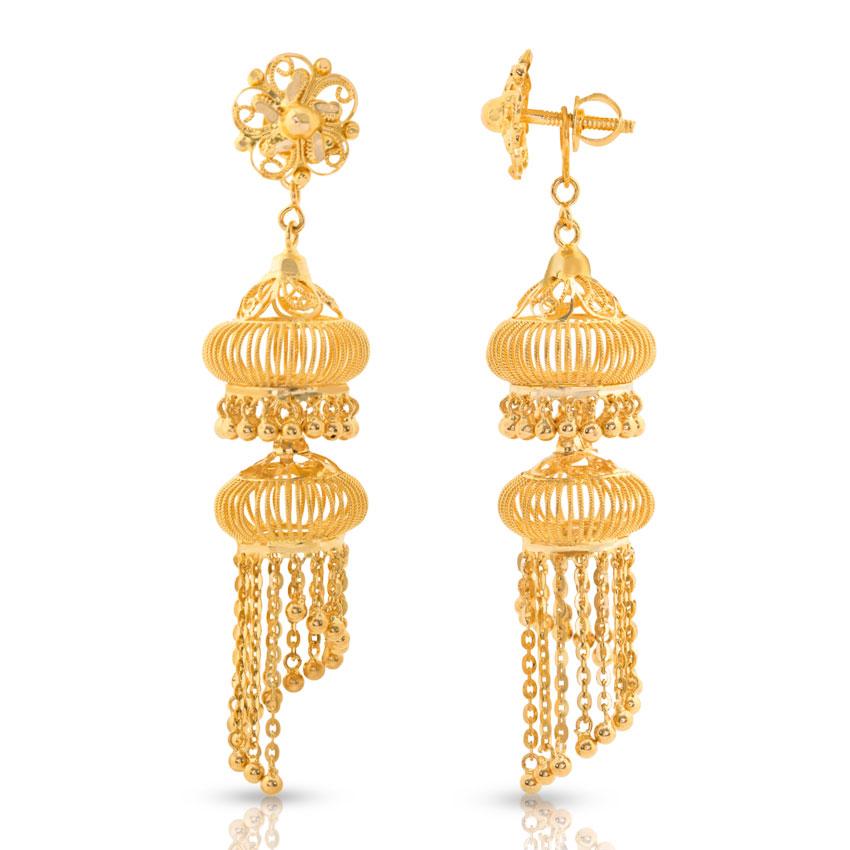 Jaali Gold Jhumkas Jewellery India Online - CaratLane.com