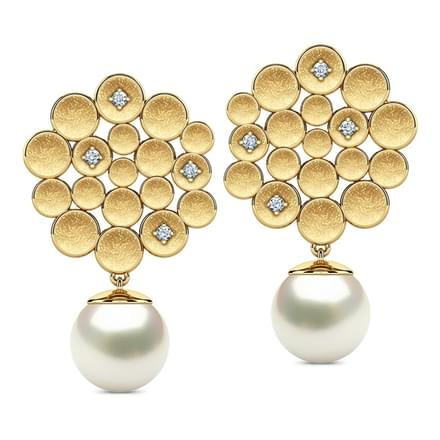 Honeycomb Pearl Drop Earrings