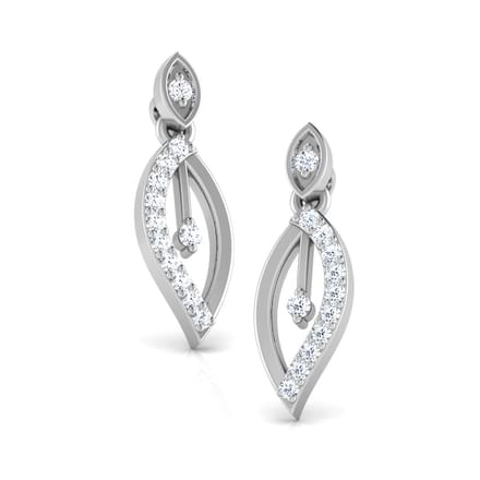 Tranquil Leaf Diamond Stud Earrings