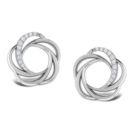 Sparkling Whorl Platinum Earrings