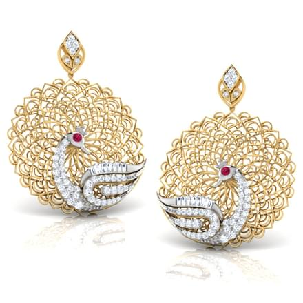 Peacock trellis earrings jewellery india online for East indian jewelry online