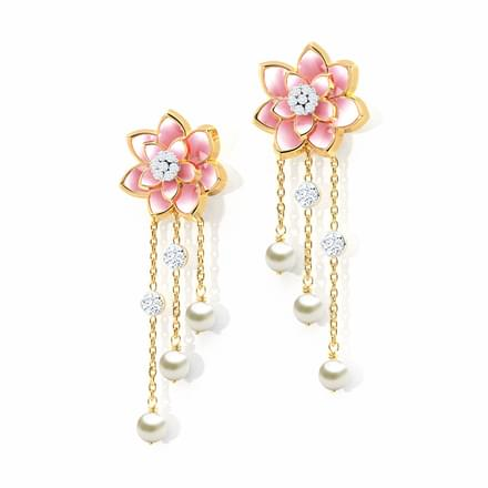 Rain Drops Lotus Earrings