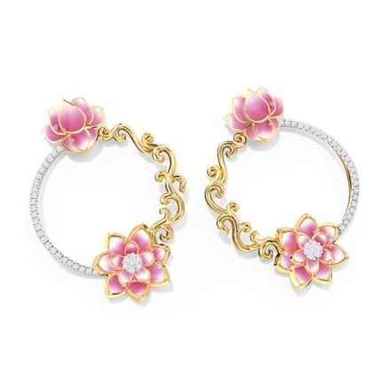 Golden Vine Lotus Earrings