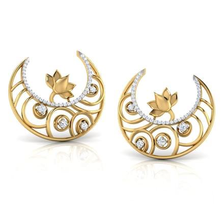 Swirly Lotus Hoop Earrings