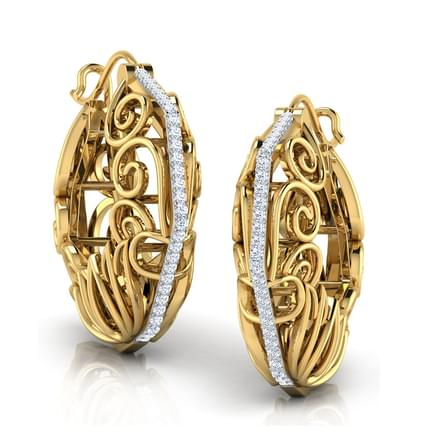 Jali Basket Lotus Hoop Earrings