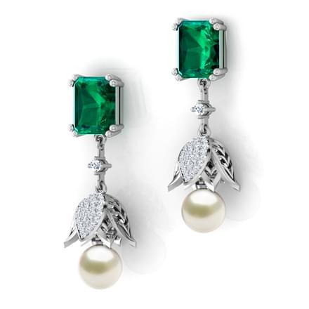 lotus pearl drop earrings jewellery india