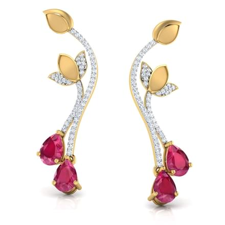 Lotus Wave Ruby Drop Earrings