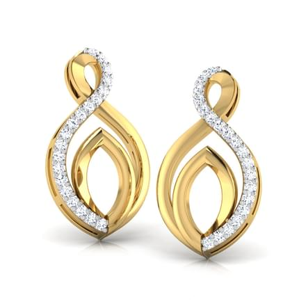 Interlooped Leaf Stud Earrings