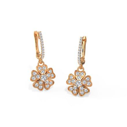 Clover Heart Flora Hoop Earrings