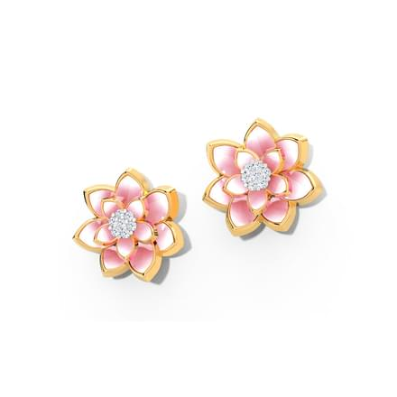 Lotus Blossom Diamond Stud Earrings