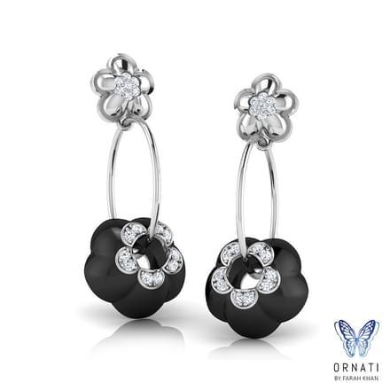 Cibil  Black Onyx Hoop Earrings