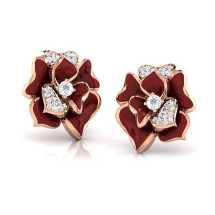 Sia Maroon Rozo Stud Earrings