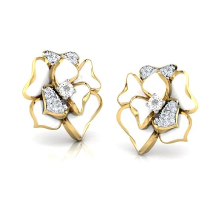 Sia White Rozo Stud Earrings