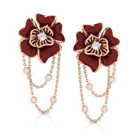 Ava Maroon Rosa Drop Earrings