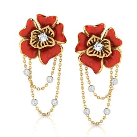 Ava Red Rosa Drop Earrings