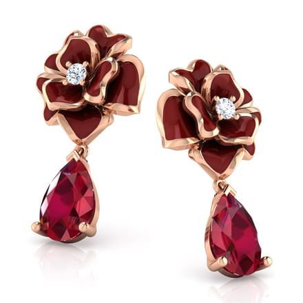 Rosemery Maroon Bilie Drop Earrings