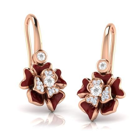 Rosy Maroon Ois Drop Earrings