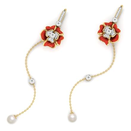 Rosalba Red Blome Drop Earrings