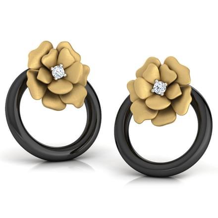 Flower In a Hoop Stud Earrings