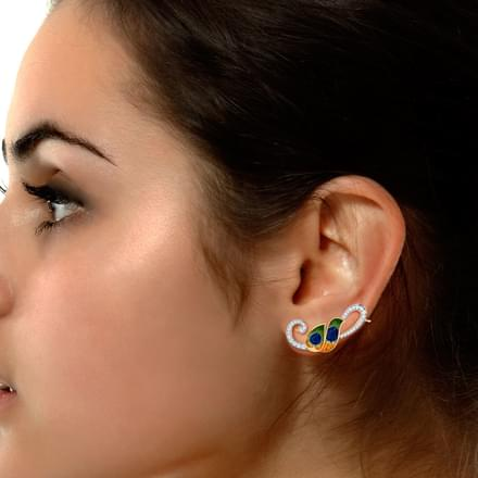 Peacock Plumes Ear Cuffs