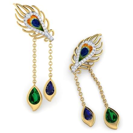 Peacock Dual Drop Earrings