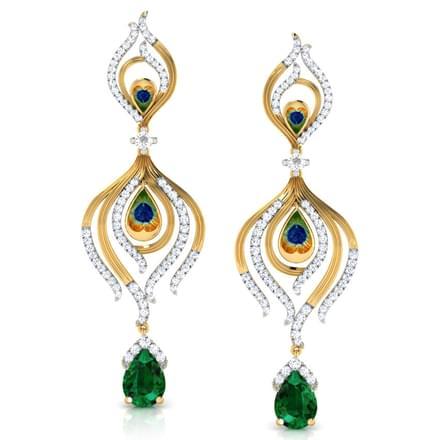 Peacock Pinion Drop Earrings