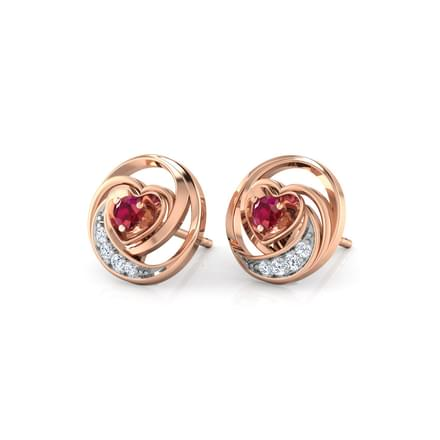 Lovable Ruby Heart Stud Earrings