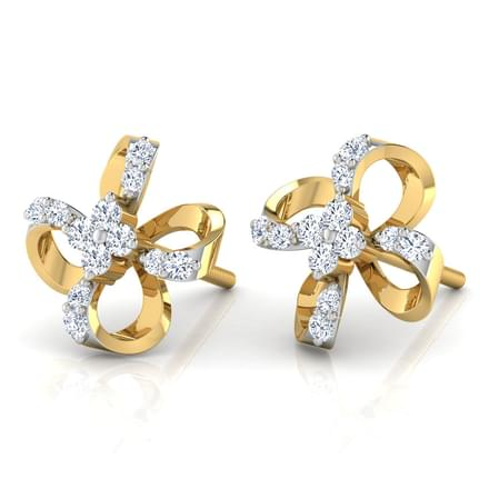 Ribbon Flower Stud Earrings