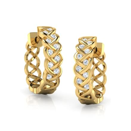 Braid Diamond Hoop Earrings