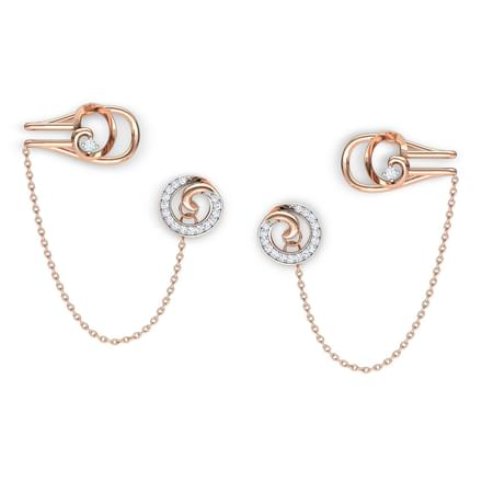 Swirl Stud Earrings with Chain Clips