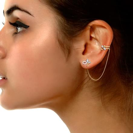 Floret Stud Earrings with Chain Clips