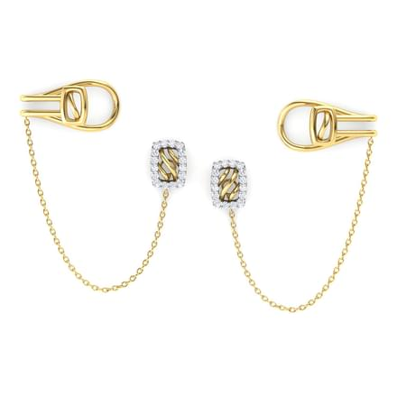 Quad Stud Earrings with Chain Clips