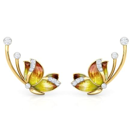 Flitter Orange Butterfly Ear Cuffs