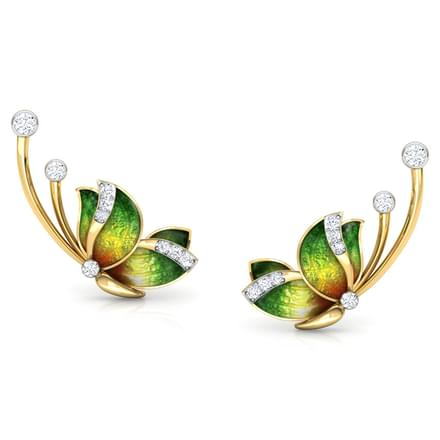 Flitter Green Butterfly Ear Cuffs