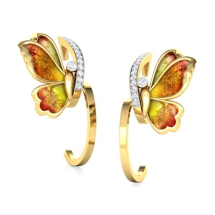 Tendril Orange Butterfly Hoop Earrings