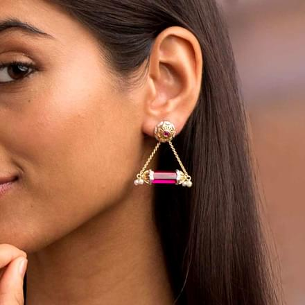 Hawa Gulabi Jharokha Drop Earrings