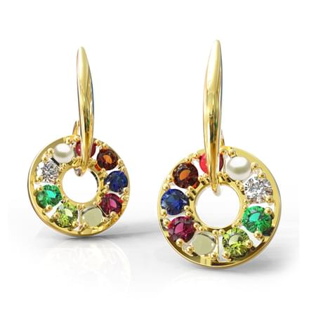 Encircled Navratna Drop Earrings