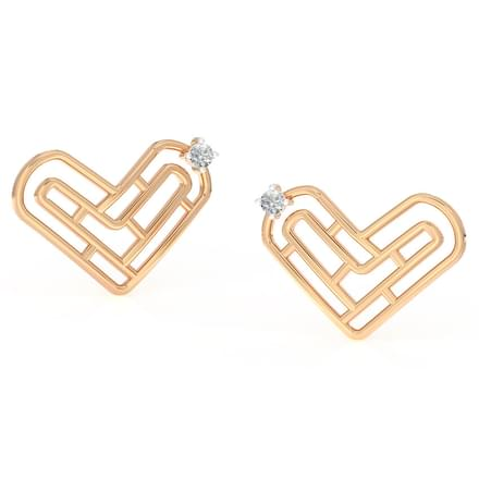 Maze Heart Stud Earrings