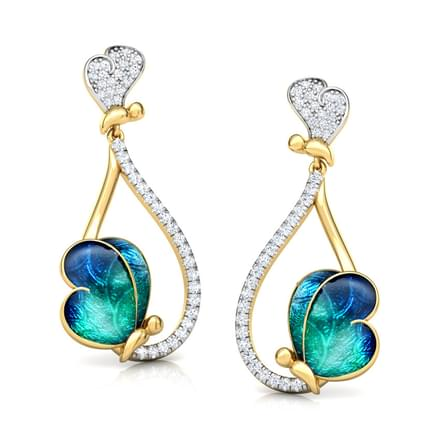 Opulent Blue Butterfly Drop Earrings