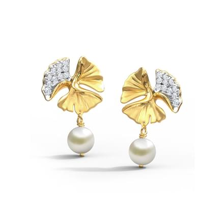 Exquisite Ginkgo Pearl Drop Earrings