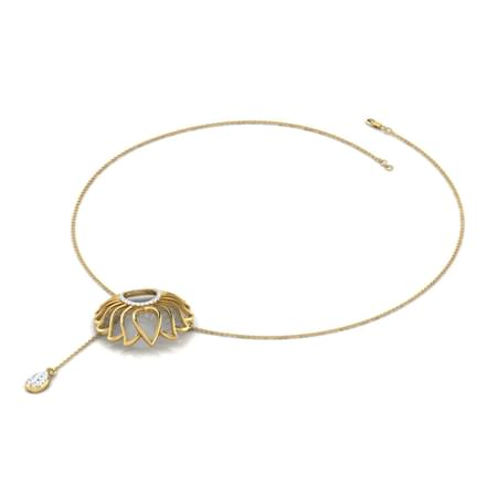 Lotus Floweret Lariat Necklace