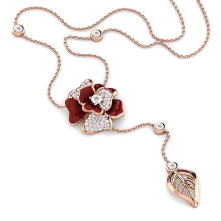 Shaina Maroon Rosebud Necklace