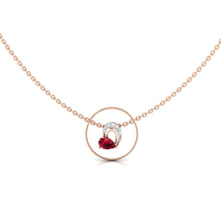 Round Frame Ruby Heart Diamond Necklace