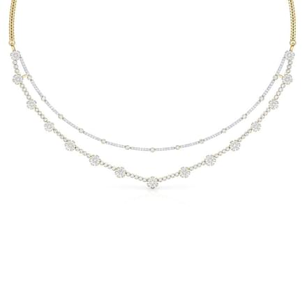 Linear Floret Two Row Necklace