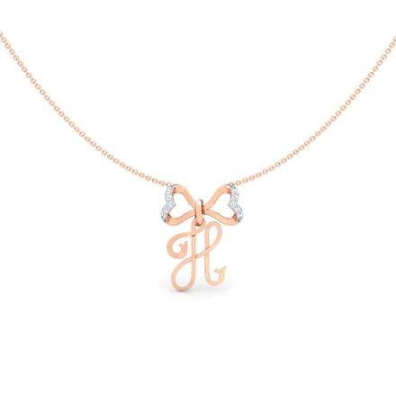 Alphabet H Bow Necklace