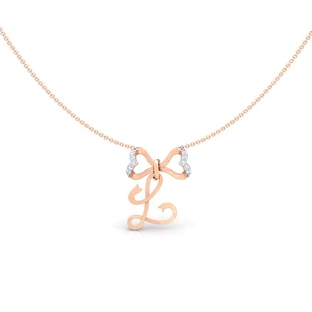 Alphabet L Bow Necklace